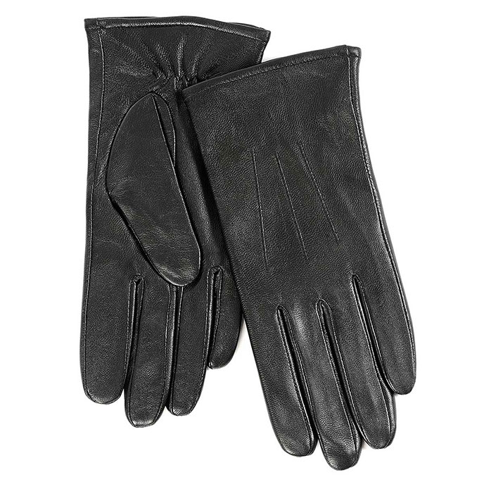 Isotoner Ladies 3 Point Waterproof Leather glove Black