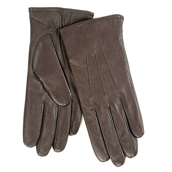 Isotoner Ladies 3 Point Waterproof Leather glove Chocolate