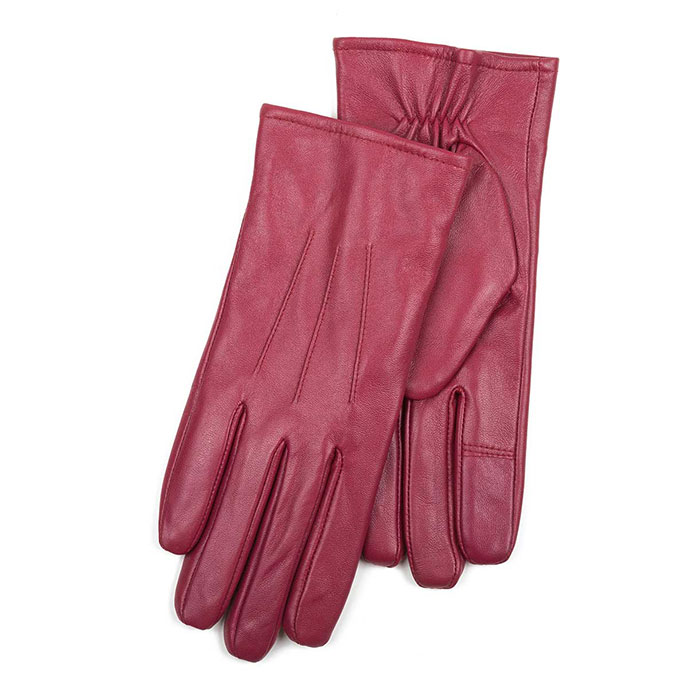 Isotoner Ladies 3 Point Waterproof Leather glove Red