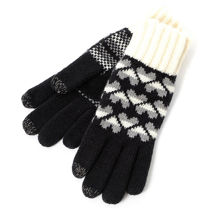 SmarTouch Ladies Chunky Knit 3 Finger Touchscreen Gloves Black/Cream Heart