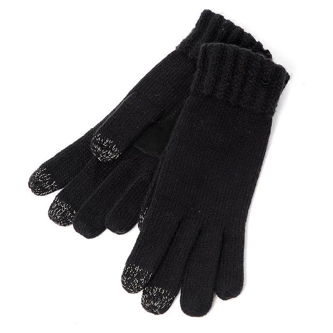 SmarTouch Ladies Chunky Knit 3 Finger Touchscreen Gloves Black