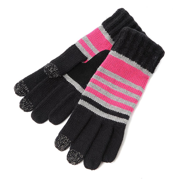 SmarTouch Ladies Chunky Knit 3 Finger Touchscreen Gloves Black/Pink/Grey Stripe