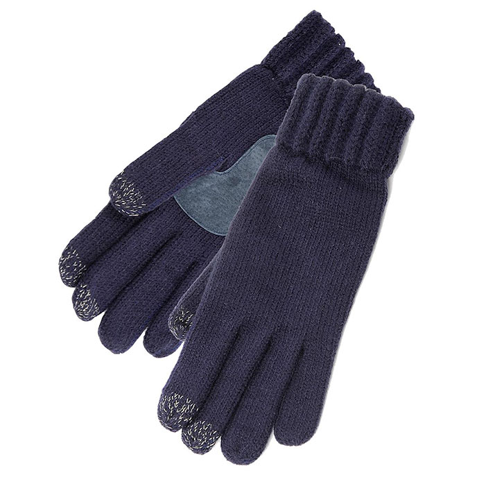 SmarTouch Ladies Chunky Knit 3 Finger Touchscreen Gloves Navy