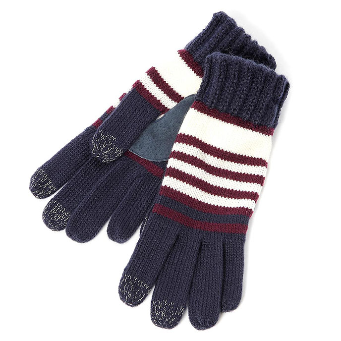SmarTouch Ladies Chunky Knit 3 Finger Touchscreen Gloves Navy/Burgundy Stripe
