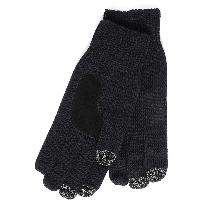 SmarTouch Mens Chunky Knit 3 Finger Touchscreen Gloves Black