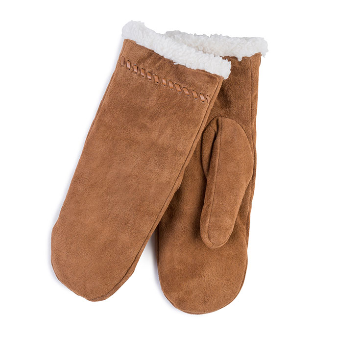 Isotoner Ladies Suede Mittens  Tan