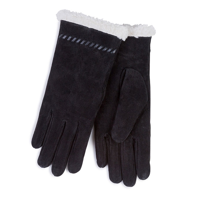 Isotoner Ladies Suede Gloves with Sherpa Trim Black
