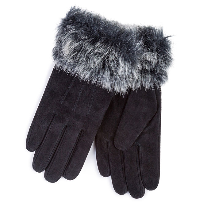 Isotoner Ladies Suede Glove with Faux Fur Cuff Black
