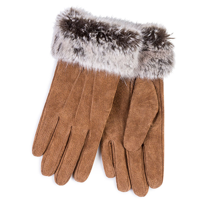 Isotoner Ladies Suede and Faux Fur Gloves Tan