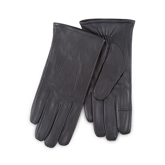 Isotoner Ladies 3 Point Leather Gloves  Black