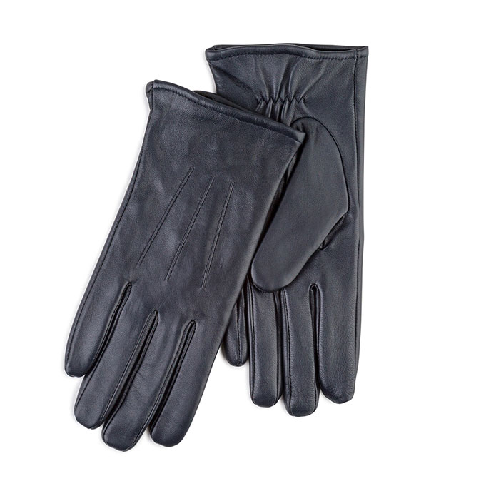 Isotoner Ladies Waterproof 3 Point Leather Gloves Navy