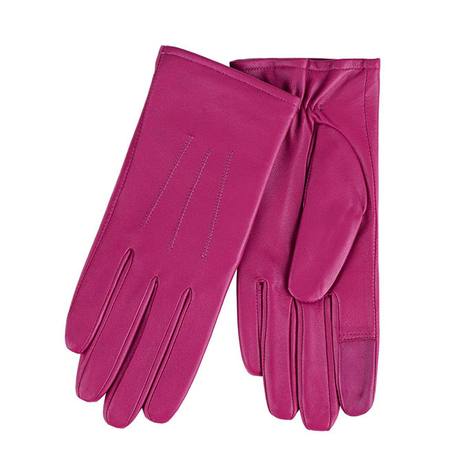 Isotoner Ladies Waterproof 3 Point Leather Gloves Raspberry