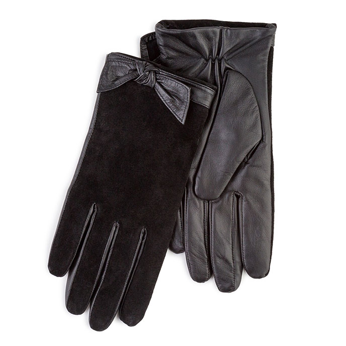Isotoner Ladies Leather & Suede Gloves with Bow Cuff Black