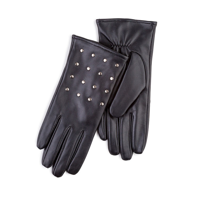 Isotoner Ladies Leather Glove with Studs  Black