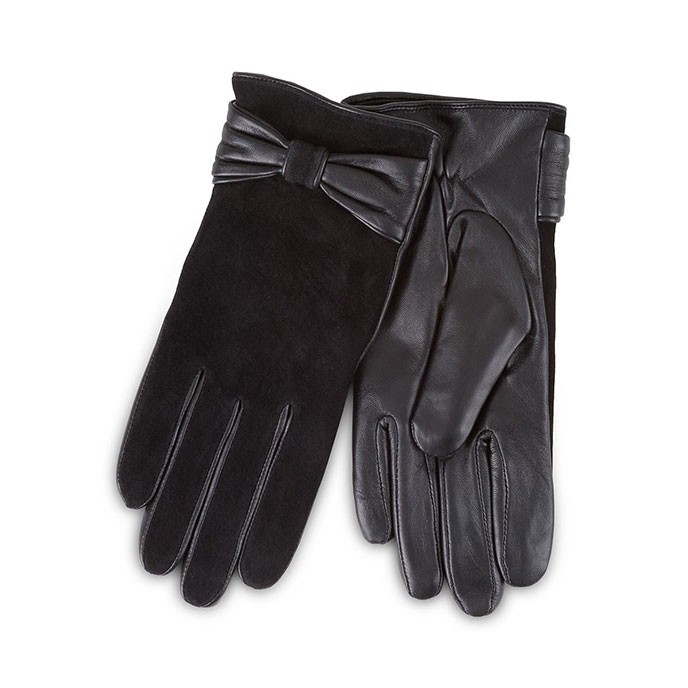 Isotoner Ladies Luxury Suede and Leather Gloves with Bow Black