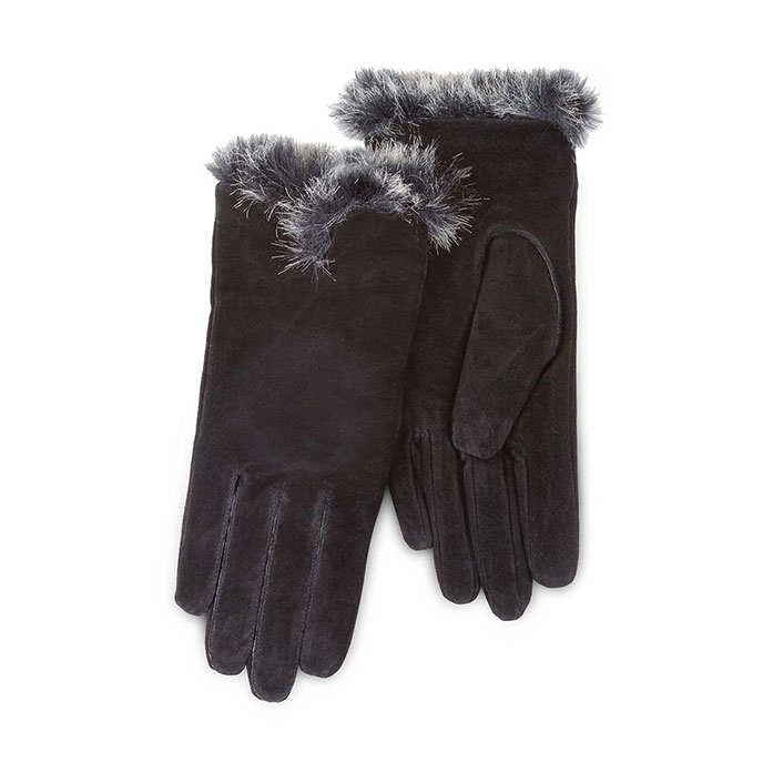 Isotoner Ladies Luxury Suede Gloves with Faux Fur Spill  Black