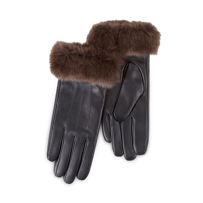 Isotoner Ladies Luxury Leather Gloves with Faux Fur Cuff and Cashmere Lining  Black