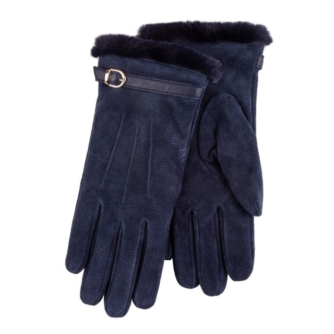 Isotoner Ladies Suede Glove with Faux Fur Cuff Navy
