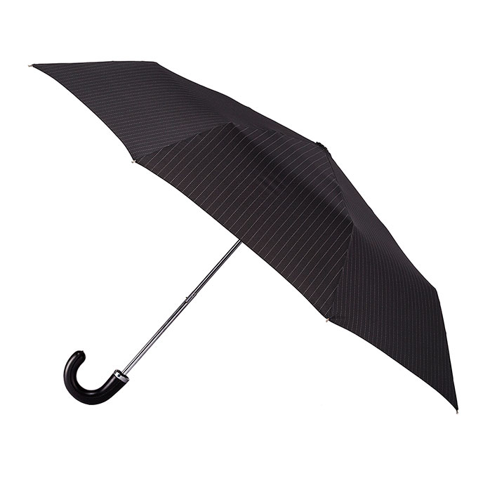 totes Manual Leatherette Crook Black Umbrella  (3 Section)