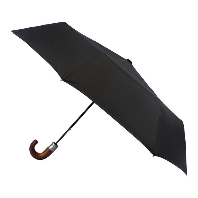 totes Automatic Classic Wood Crook Umbrella Black