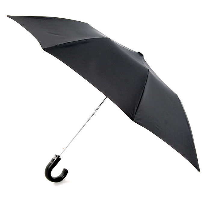 totes Automatic Plastic Crook Umbrella Black