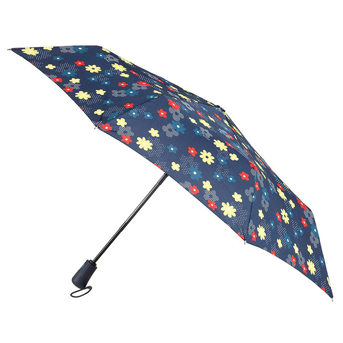 totes Auto Open/Close XTRA STRONG Dotty Stripe Flower Print Umbrella (3 Section)