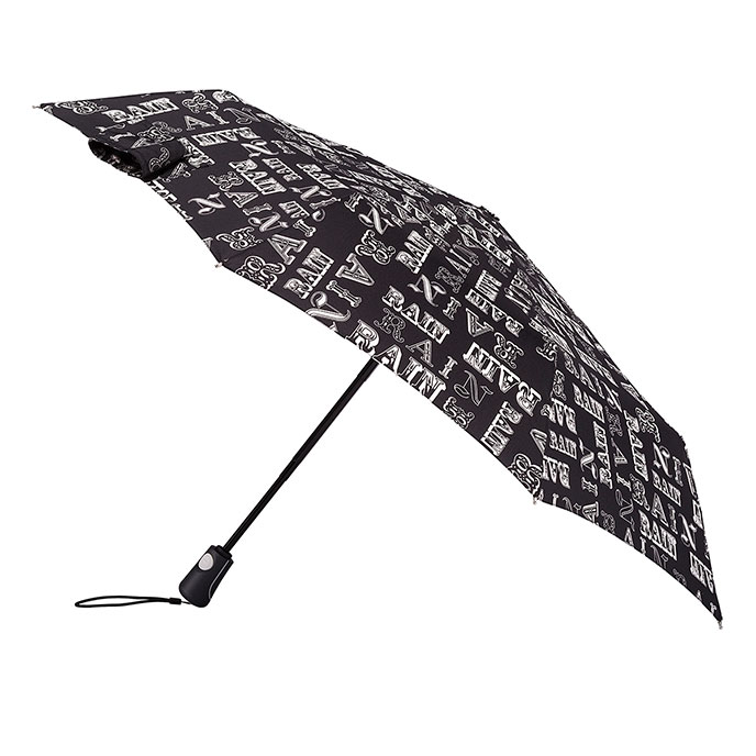 totes Auto Open/Close XTRA STRONG Rain Text Print Umbrella  (3 Section)