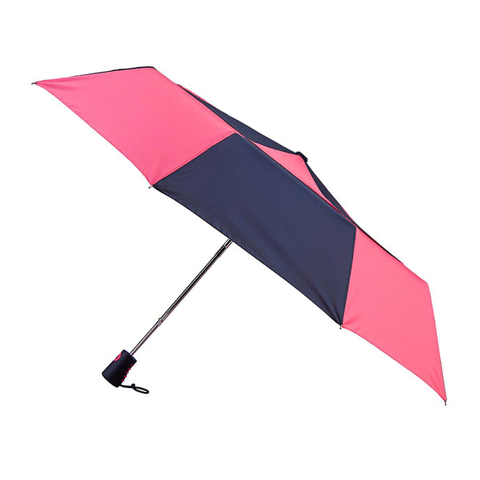 totes Auto Open Double Canopy Umbrella with Coral & Navy Design (3 Section)