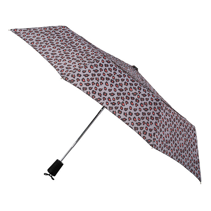 totes Auto Open Double Canopy Print - Big Coral Leopard Umbrella  (3 Section)