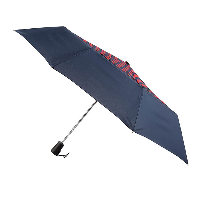 totes Auto Open Double Canopy Umbrella with Navy & Scarlet Spot  (3 Section)