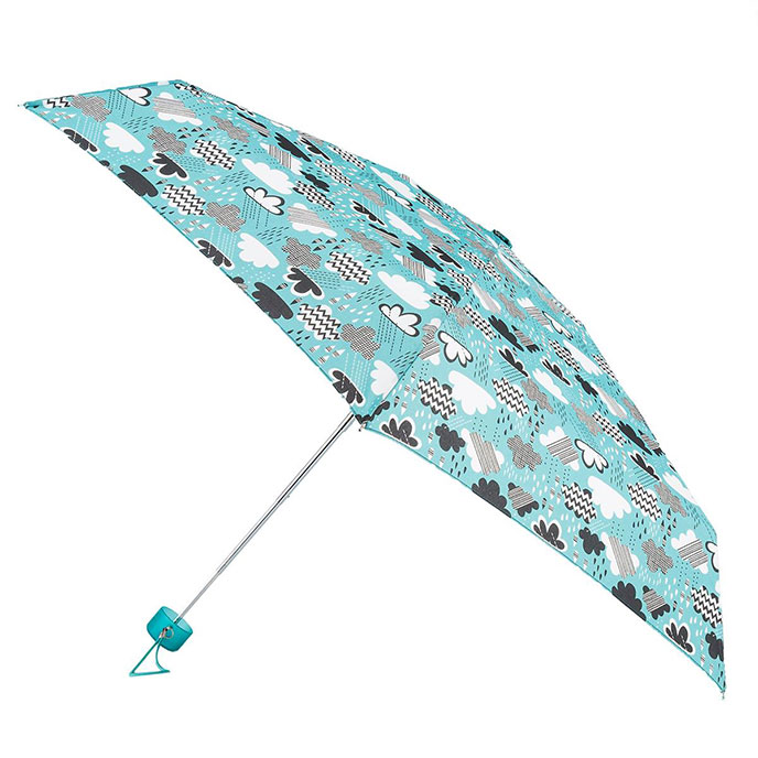 totes Compact Round Cloud Print Umbrella (5 Section)