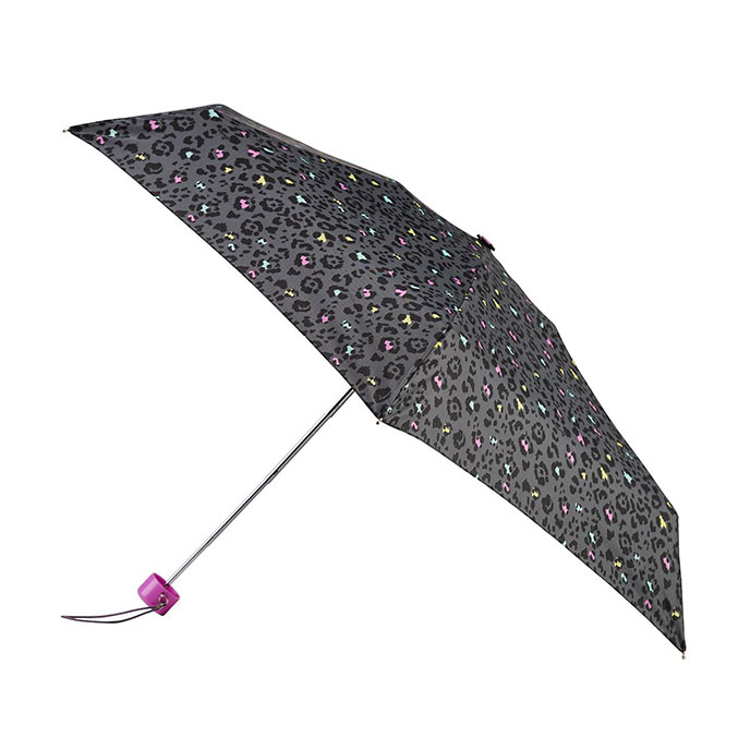 totes Mini Round Multi Panther Print Umbrella (5 Section)