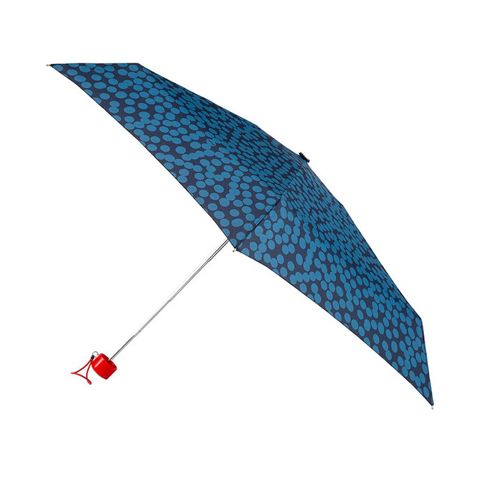 totes Mini Round Large Blue Speckle Dot Print Umbrella (5 Section)