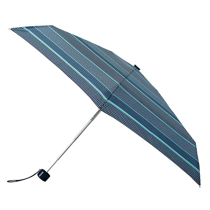 totes Mini Thin Round Tiled Stripe Print Umbrella  (5 Section)