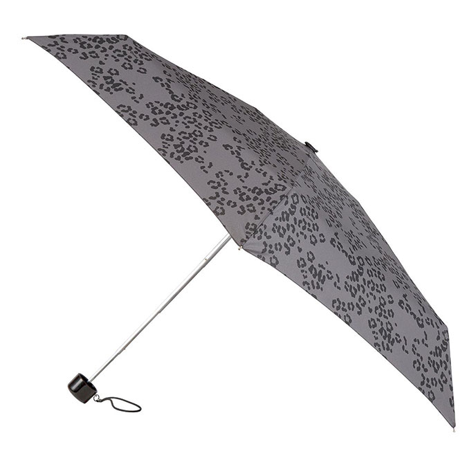 totes Mini Round Grey Tonal Leopard Print Umbrella (5 Section)
