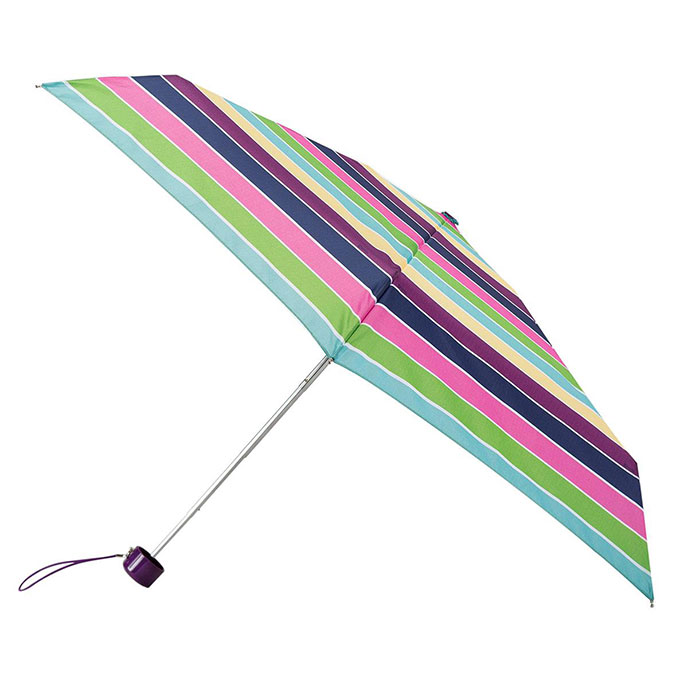 totes Mini Thin Round Block Stripe Print Umbrella (5 Section)