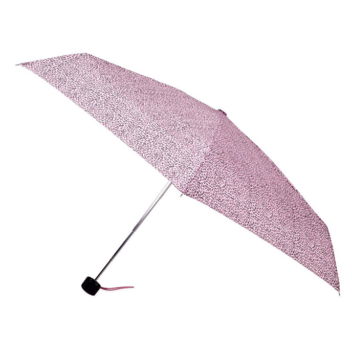 totes Mini Small Pink Leopard Thin Umbrella (5 Section)