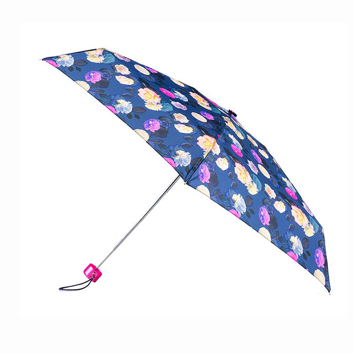 totes Compact Round Photographic Floral Print Umbrella (5 Section)