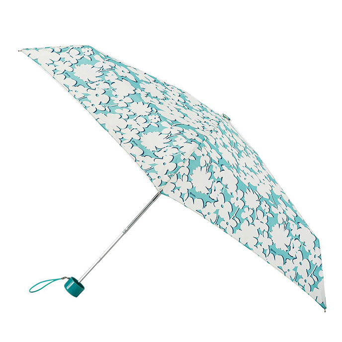 totes Mini Thin Round Aqua Shadow Floral Print Umbrella  (5 Section)