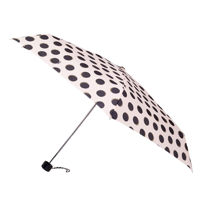 totes Mini Cream/Black Splodge Dots Thin Umbrella (5 Section)