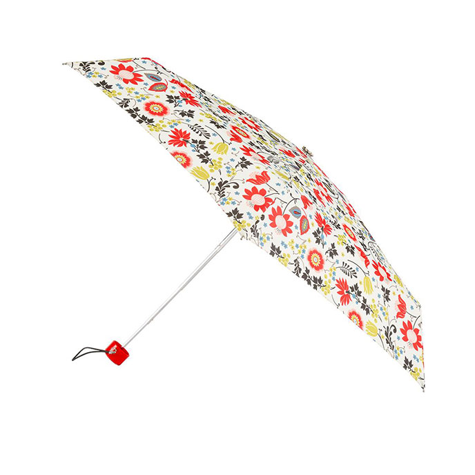 totes Mini Round Cream Folk Floral Print Umbrella (5 Section)
