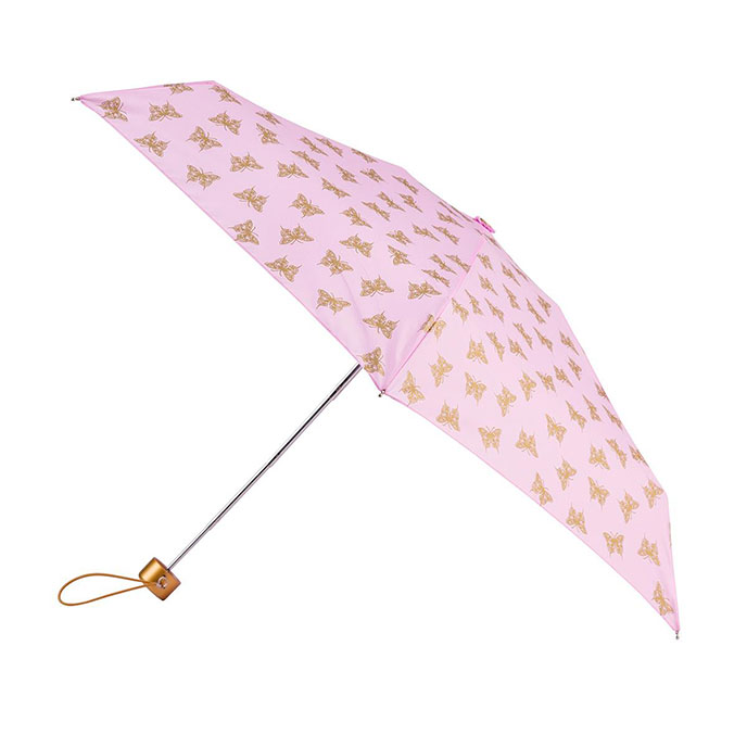 totes Mini Round Metallic Gold Butterfly Print Umbrella (5 Section)