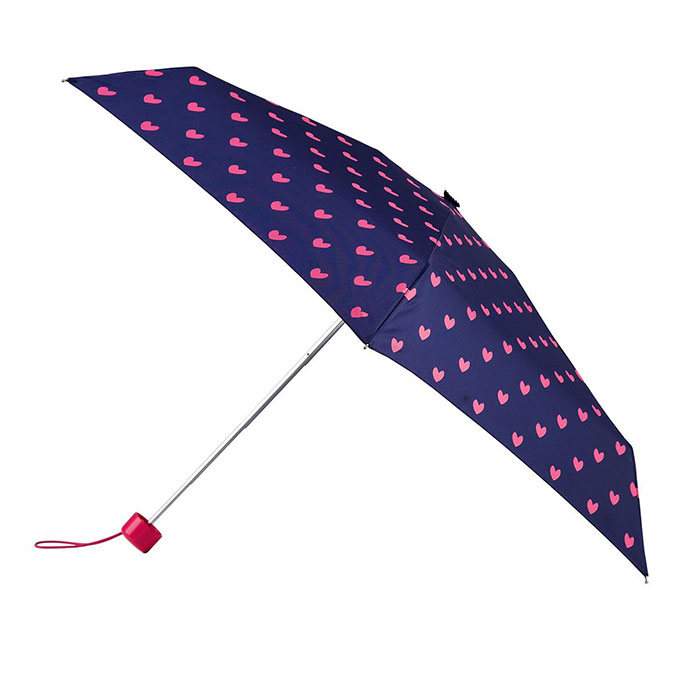 totes Mini Round Pink Hearts Print Umbrella (5 Section)