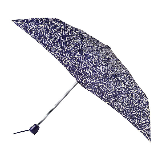 totes Auto Open//Close Thin Navy Batik Umbrella 3 Section