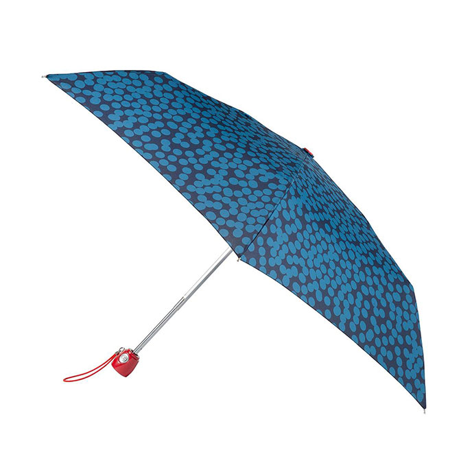 totes Auto Open/Close Thin Large Blue Speckle Dot Umbrella (3 Section)