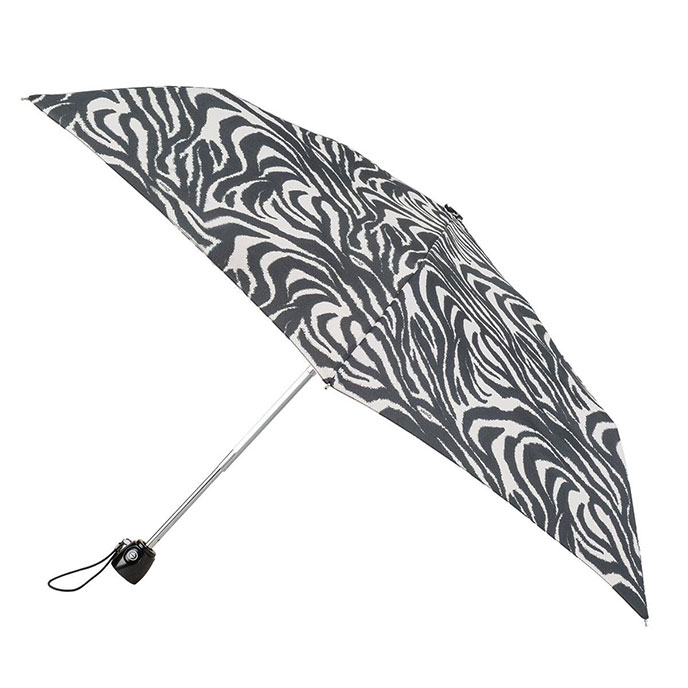 totes Auto Open/Close Thin Black & Cream Zebra Print Umbrella (3 Section)