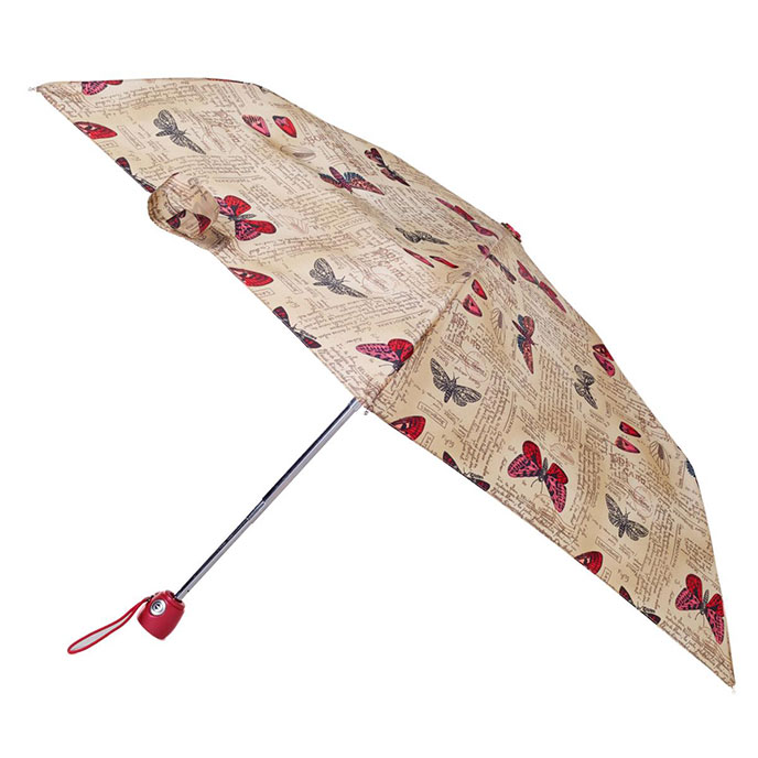totes Butterfly Postcard Auto Open/Close Thin Umbrella  (3 Section)
