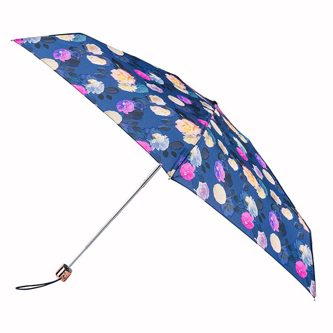 Compact Flat Pink Photographic Floral Umbrella (5 Section)