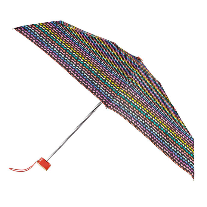 totes Miniflat Bright Bead Stripe Print Umbrella (5 Section)