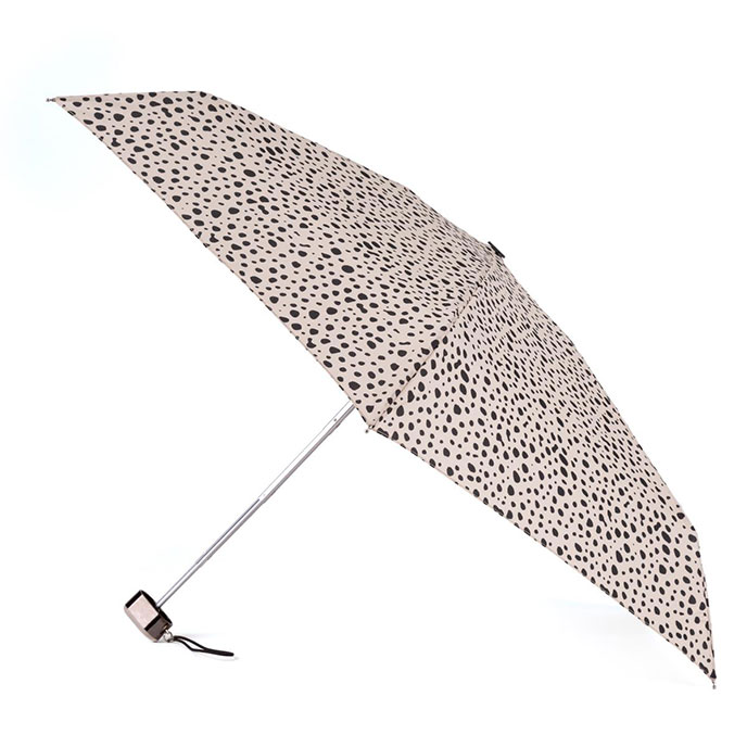 totes Compact Flat Dotty Animal Print Umbrella (5 Section)